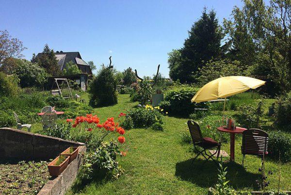 Sitzplätze im Garten vom Blumencafé in Wiek auf der Insel Rügen